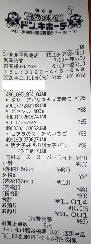 ドン・キホーテ BIGFUN平和島店 2020/2/11 のレシート