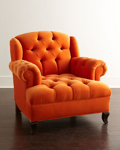 Delectable orange tufted chair- design addict mom