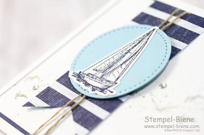 Stampinup; Setz die Segel; Maritime Karte; Grußkarte basteln; Karte für Anfänger, Männerkarte; Karte Bootsprüfung; Stempel-Biene