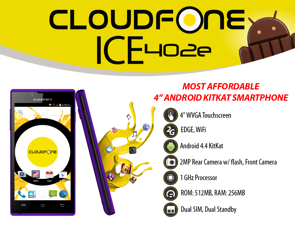 CloudFone Ice 402e Specs and Price