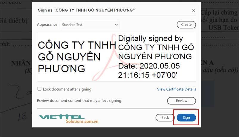 Hình 14 - Nhấn Sign để ký điện tử