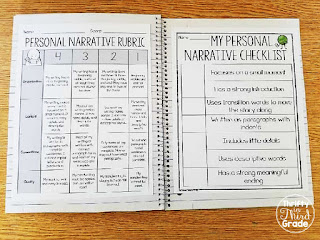 Personal Narrative student friendly rubrics and checklists.
