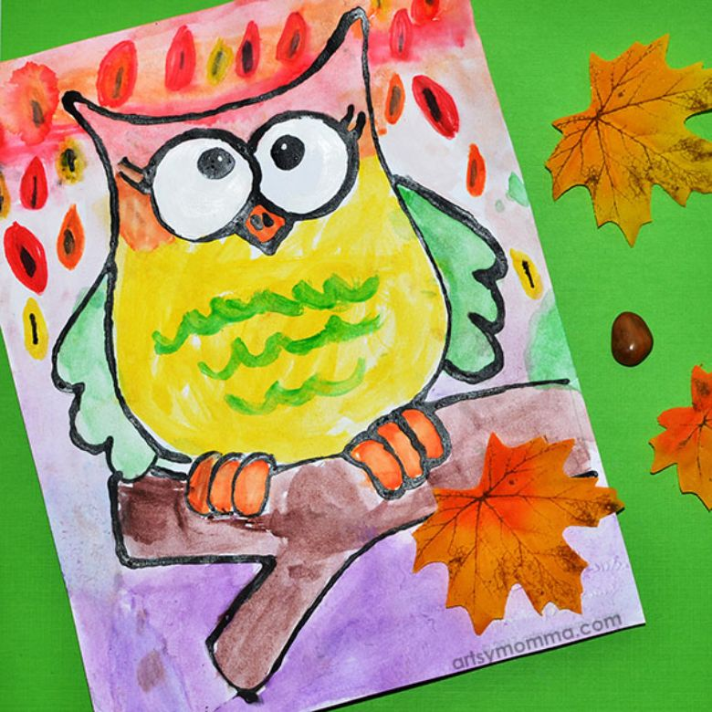 autumn owl black glue art autumn craft for kids