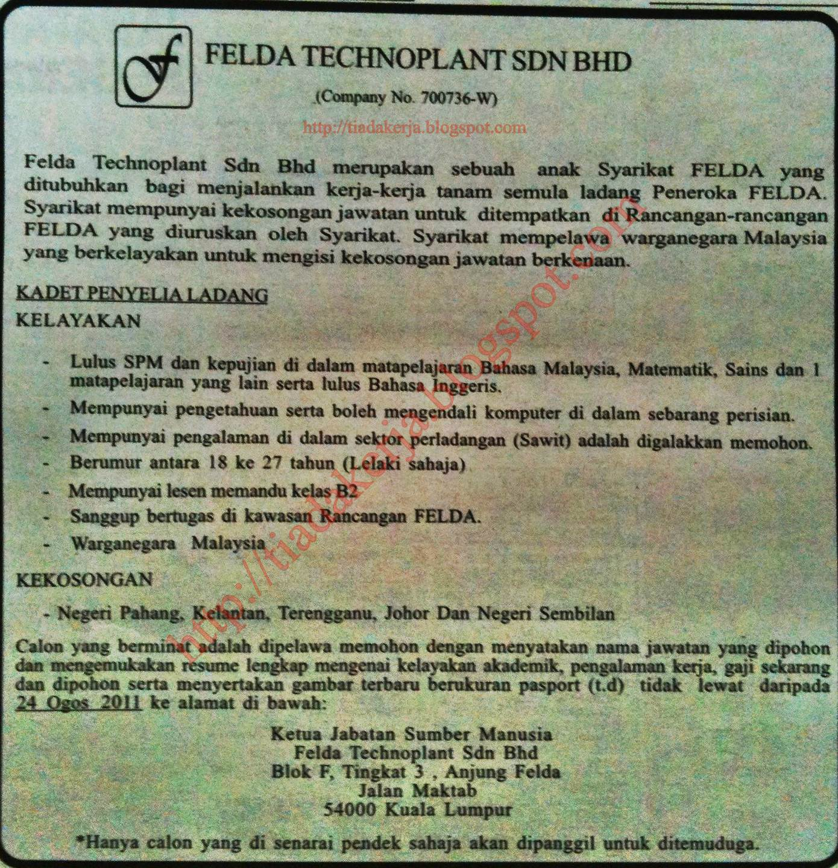 Jawatan Kosong Felda Holdings - Kerja Kosr