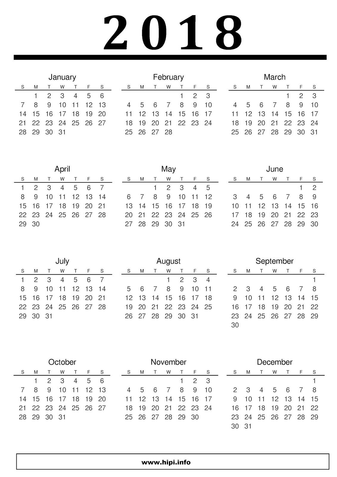 free printable calendar 2018 template