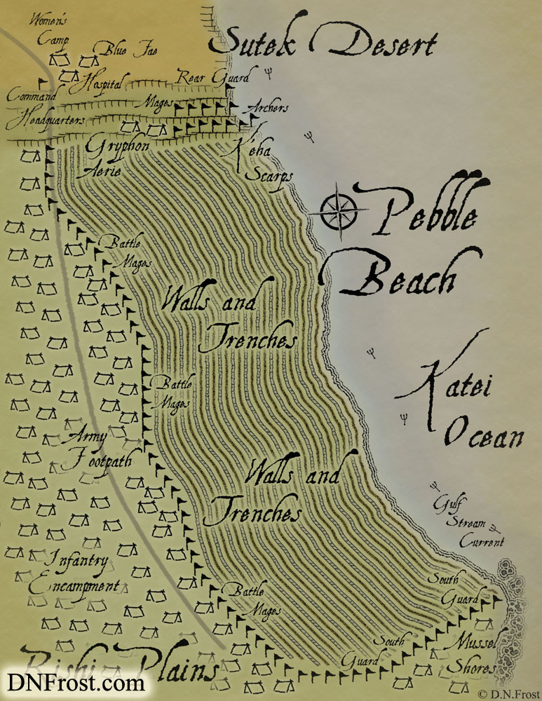 Pebble Beach: fortified coast of walls and trenches www.DNFrost.com/maps #TotKW A map for Broken by D.N.Frost @DNFrost13 Part of a series.