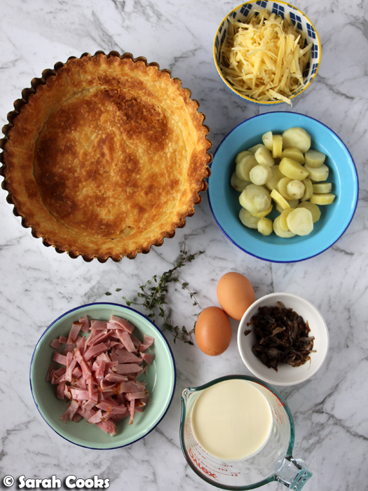 Tart shell, potatoes, egg, ham, cheese, thyme, cream