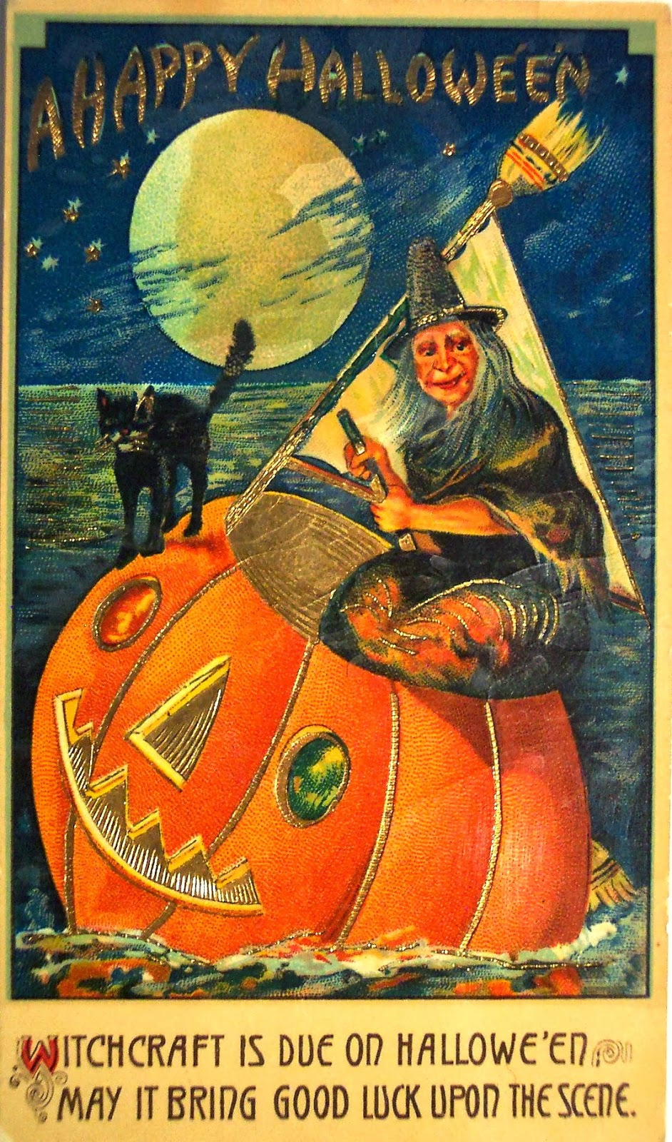 Vintage Halloween Witch Postcards, C. 1900u0027s