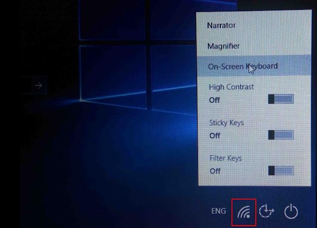On screen keyboard in windows login page
