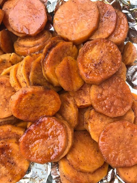 Cooked maple cinnamon sweet potatoes.