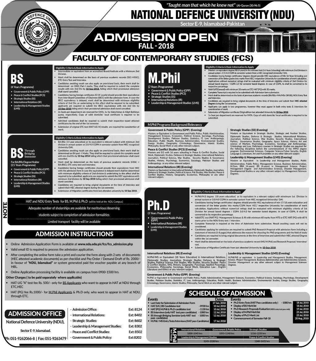 National Defence University Admissions Fall 2018