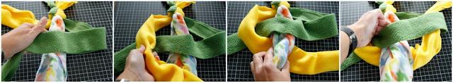 Step-by-step how to tie a cobra knot to make a homemade fleece dog tug toy