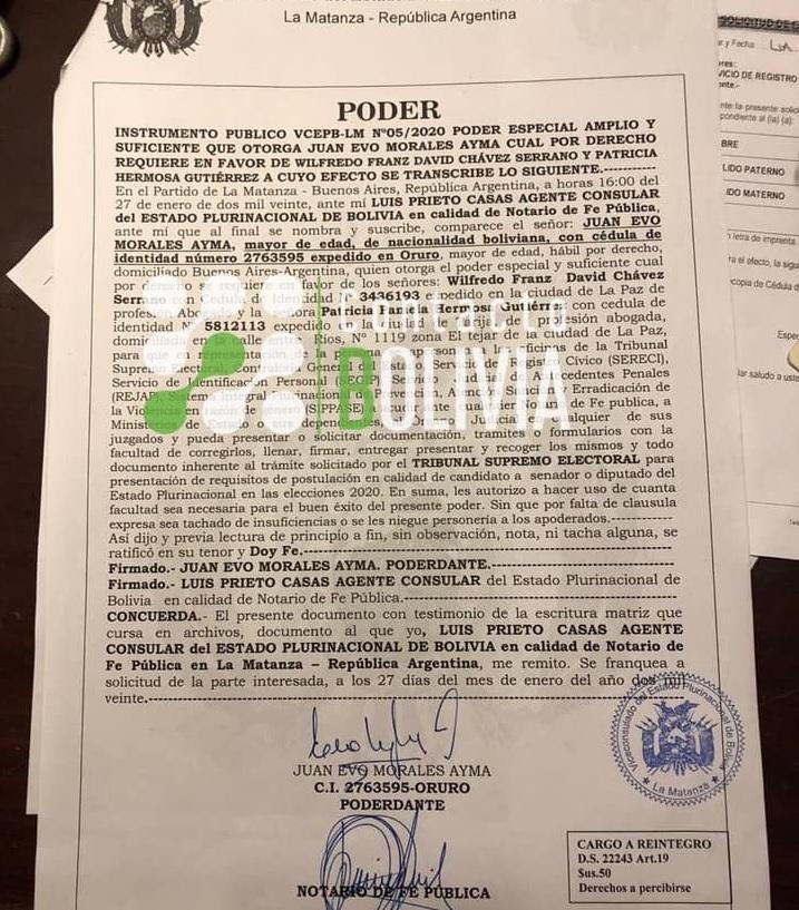 Poder de Morales emitido en La Matanza y recibido en La Paz / CONTACTO BOLIVIA