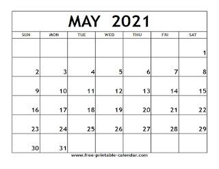 Free Printable Calendar May 2021