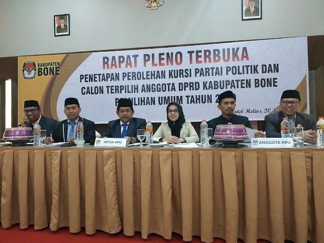 KPU Bone Gelar Rapat Pleno Terbuka Penetapan Perolehan Kursi Parpol dan Calon Terpilih Anggota DPRD Bone