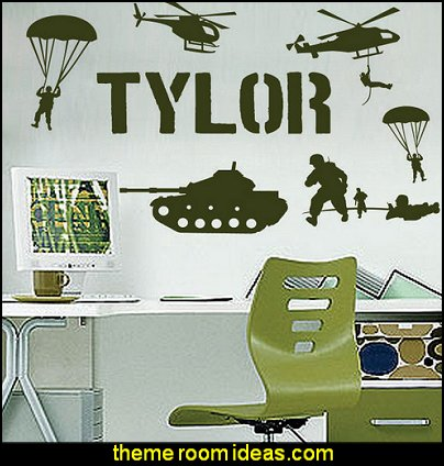 Custom Name Military Army Soldiers Boys Room Vinyl Wall Decor Mural Decal Sticker