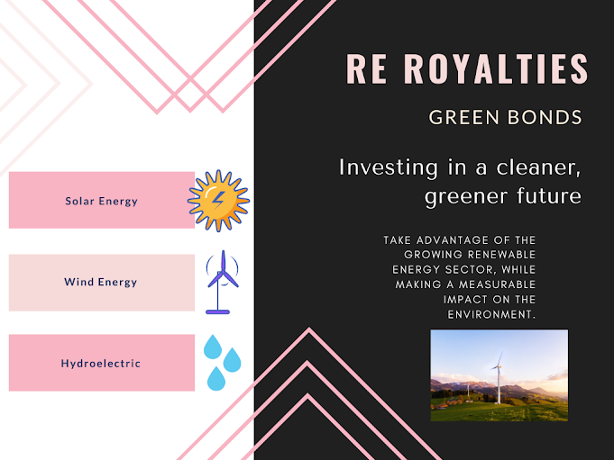 Graphic about renewable energy , RE Royalties green bonds, investing in a cleaner future, take advantage of the growth of green energy