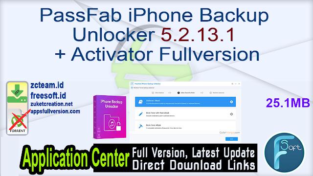 PassFab iPhone Backup Unlocker 5.2.13.1 + Activator Fullversion