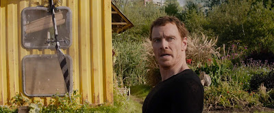 Michael Fassbender as Magneto has his mouth open in the 2019 movie Dark Phoenix