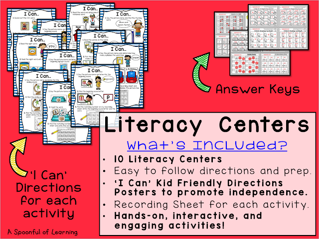 Back to School Centers - 10 Literacy Centers 1
