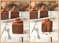 Tarta de chocolate rellena de queso al chocolate