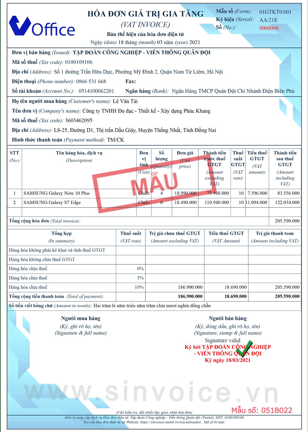 Mẫu hóa đơn điện tử số 051B022