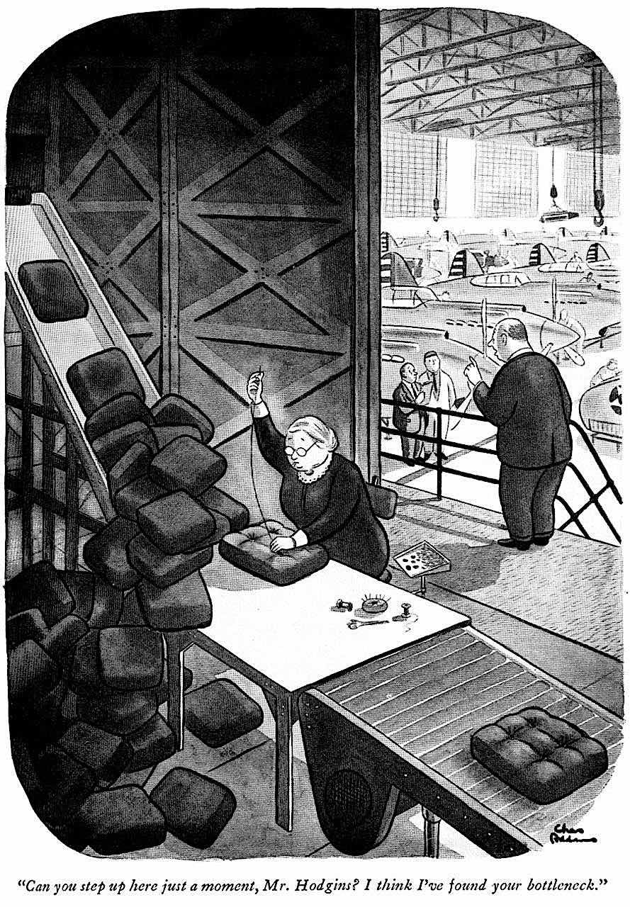 a Charles Addams cartoon about war production
