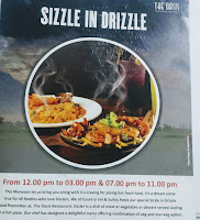 Sizzler food menu card at Oasis restaurant Navi Mumbai
