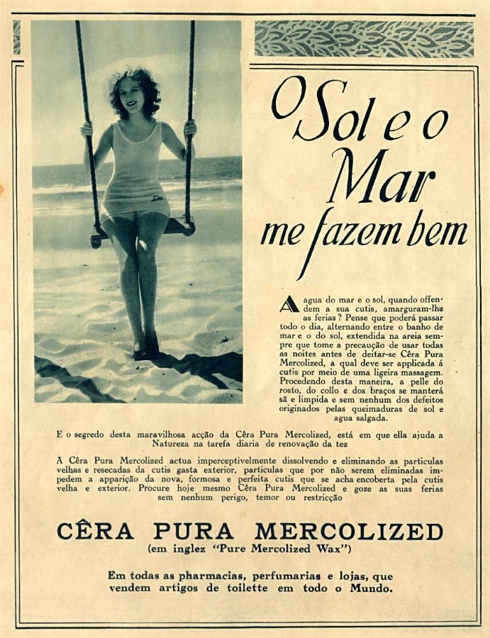 Propaganda antiga de cera para a pele apresentada em 1930
