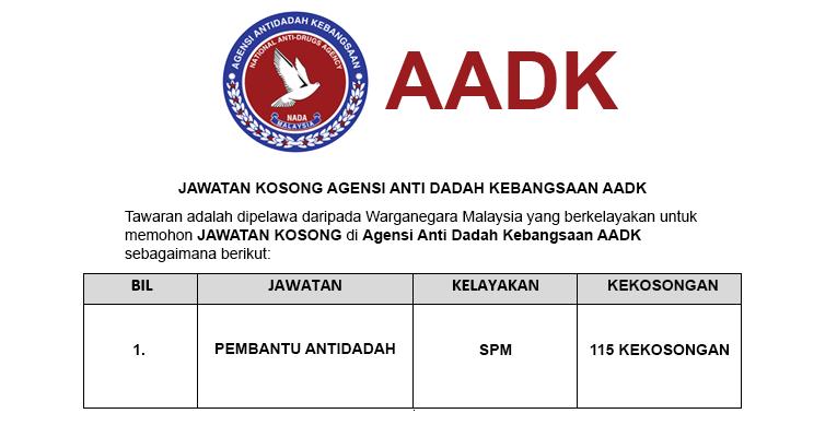 Jawatan Kosong di Agensi Anti Dadah Kebangsaan AADK - Pembantu Antidadah S19 / Seluruh Negara