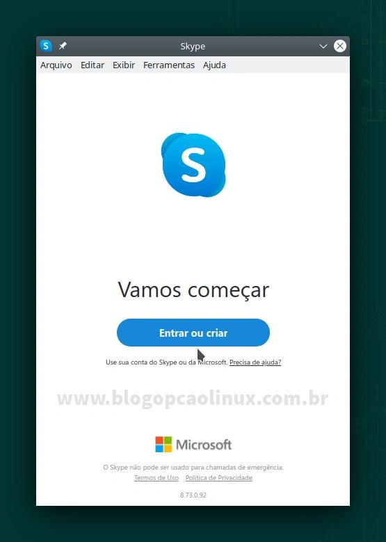Skype executando no openSUSE Leap 15.3