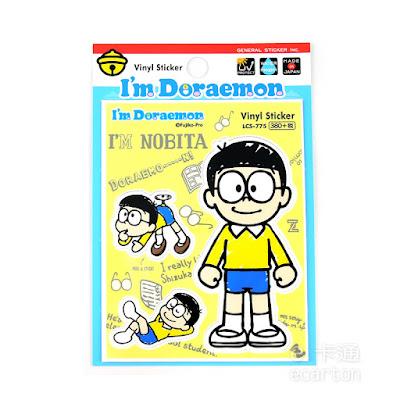 日本製哆啦a夢卡通人物大雄防水貼紙標籤文具