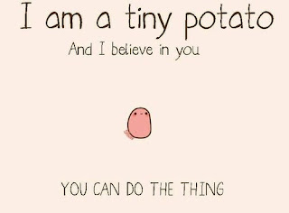 I am a tiny potato and I believe in you meme