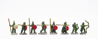 Armoured Hoplites (Bronze Cuirass) x 2 / Armoured Hoplites (Linen Cuirass) x 2 / Spartan Hoplites x 2 / Psiloi Archers x 2:
