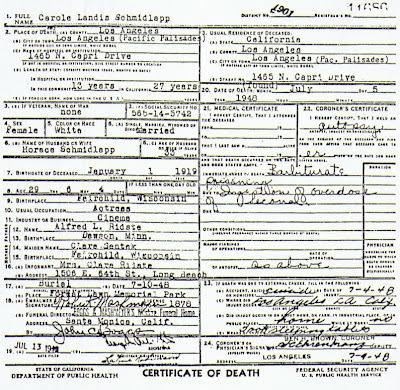 Carole Landis Death Certificate