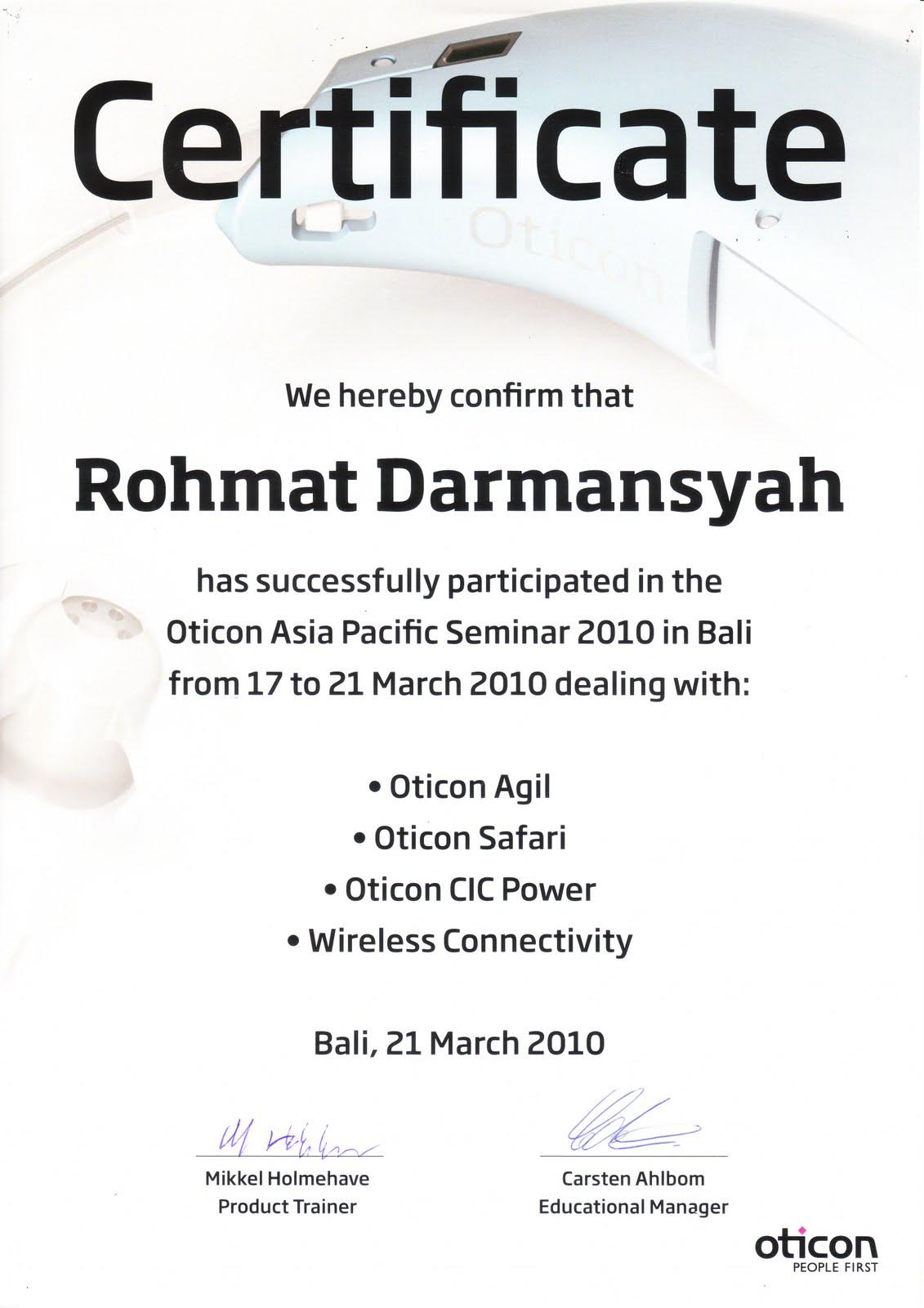 oticon indonesia sertificate of oticon export seminar. Black Bedroom Furniture Sets. Home Design Ideas