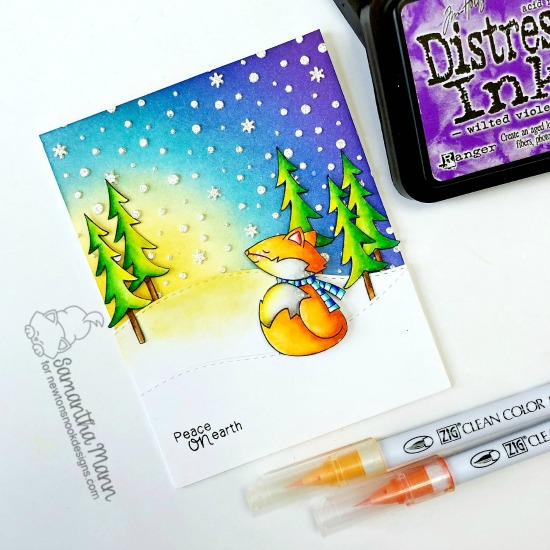 Peace on Earth Card by Samantha Mann | Fox Hollow Stamp Set by  Newton's Nook Designs #newtonsnook #handmade