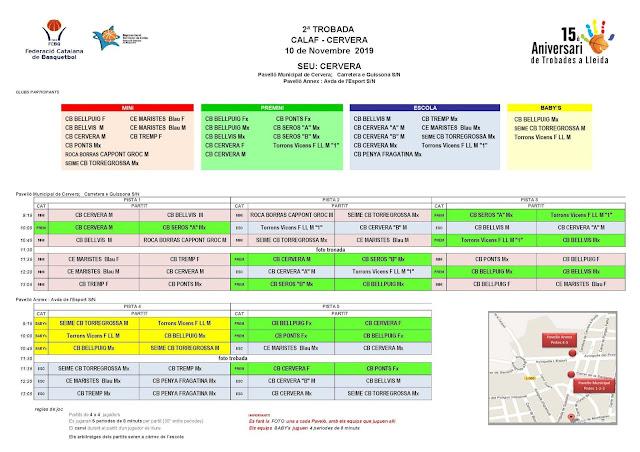 Trobada d'escoles de bàsquet aquest proper diumenge a Cervera i Calaf