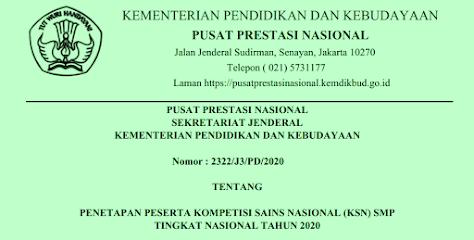 Daftar Nama Pemenang  Juara KSN SMP Tingkat Provinsi Tahun  DAFTAR NAMA PEMENANG (JUARA) KSN SMP TINGKAT PROVINSI TAHUN 2020