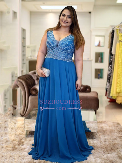 V-Neck Beading Brilliant A-Line Chiffon Plus-Size Prom Dresses