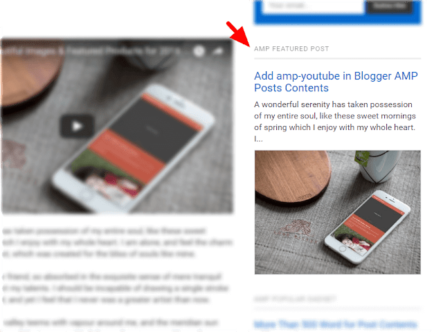 AMP HTML Featured Post Gadget Improvements for Blogger Blog