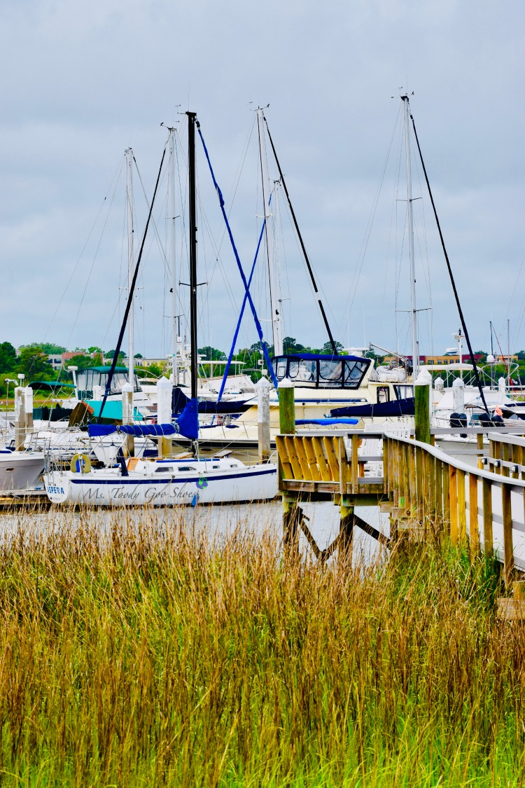 Pretty boats in a marina in Charleston, SC | Ms. Toody Goo Shoes