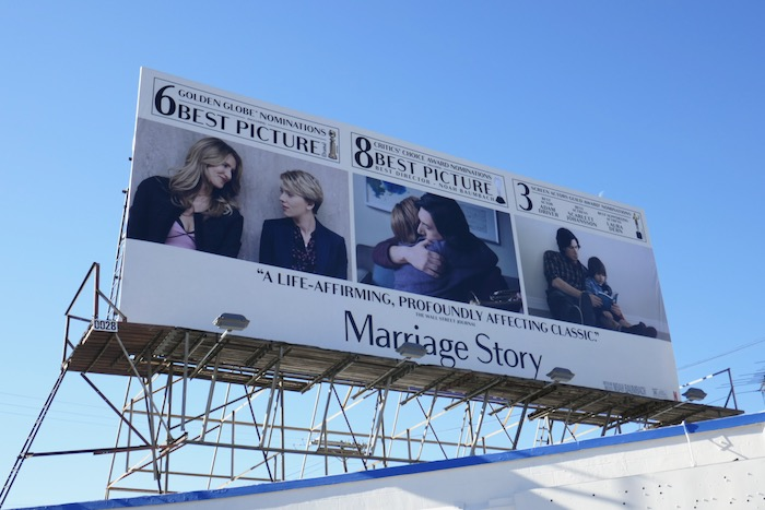 Marriage Story Golden Globe nominee billboard