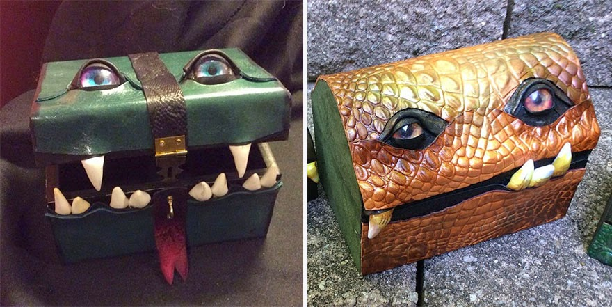 diseño de pequeño baúl con forma de monstruo