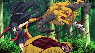 Akame zabija bestię przy pomocy swojego teigu Murasame