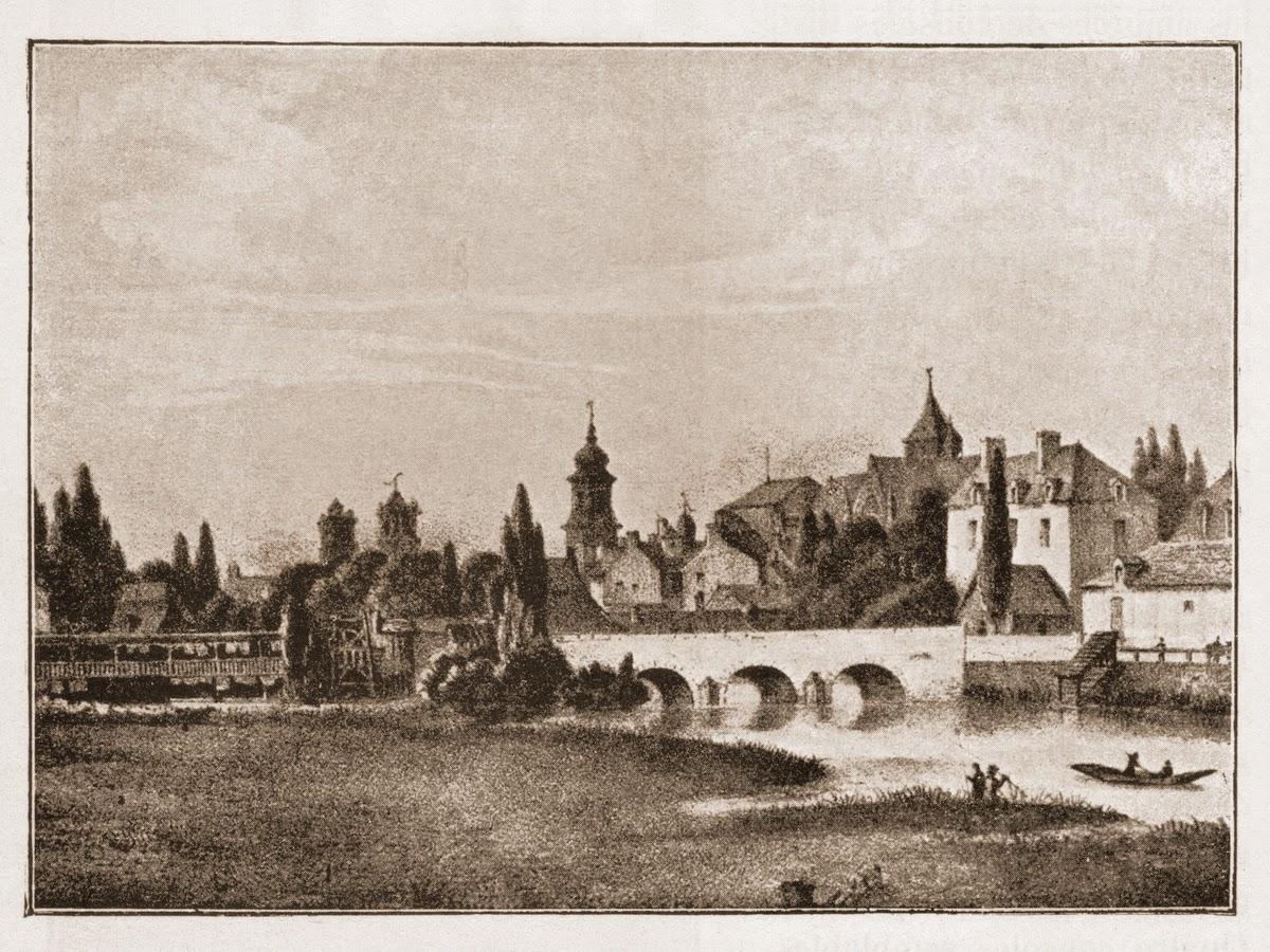 """""""L'ancien pont Saint-Georges"""" par Lorette, vers 1840 - On voit l'église Saint-Germain qui domine la ville à cet endroit..."""