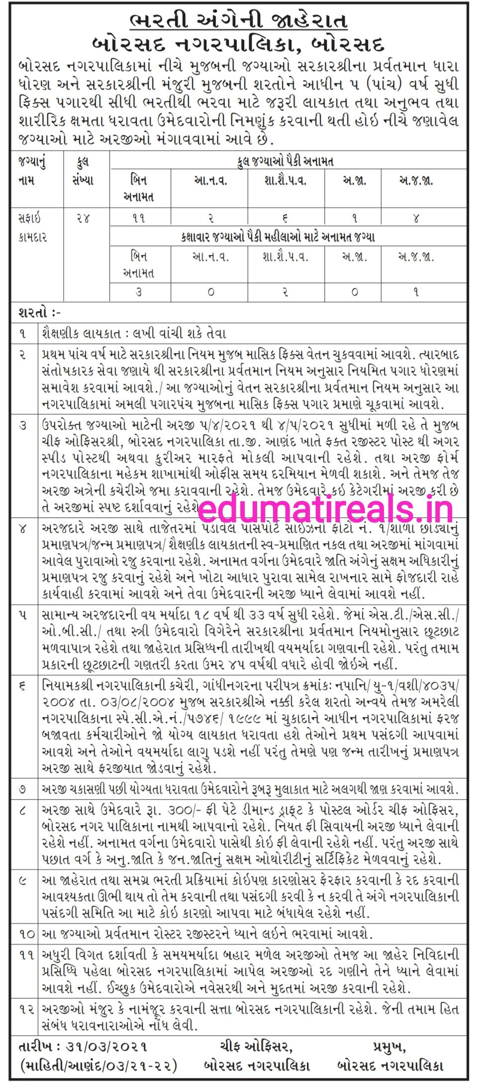Borsad Nagarpalika Recruitment