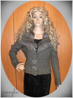 Cardigan *Menglu Fashion*, amestec lana si acryl, insertii blanita naturala la gat si bust