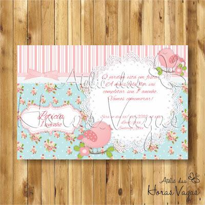 convite digital aniversário infantil personalizado passarinho jardim encantado floral delicado azul e rosa 1 aninho menina provençal