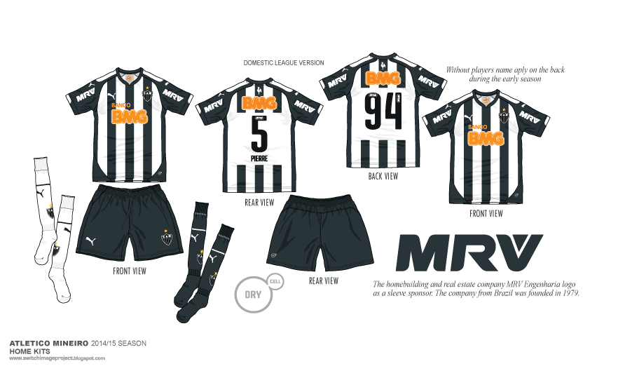 101b56758 The shorts of the Atlético Mineiro 2014 Home Jersey are black